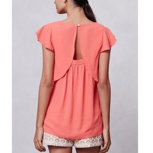 Meadow Rue Anthropologie Orange Sheer Flutter Top